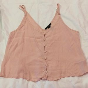 Forever 21 pink button up crop top
